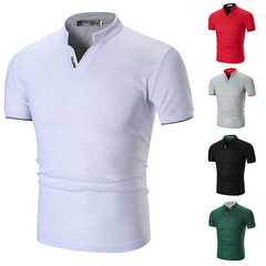 HN brand a Pure color cultivate one's morality stand-up collar and short sleeves men's POLO shirt white m mixed material