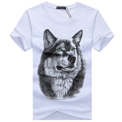 HN brand a 3D Wolf Add fat and size Men's t-shirts with short sleeves white S mixed material