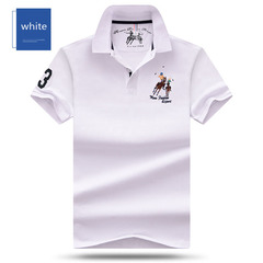 HN Summer Lapel embroidered horseback riding Polo Shirt Large Casual Short Sleeve Polo Shirt white m mixed material