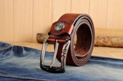 Fashion PU & Cowskinb Belts For Men Metal pin Buckle Belt brown 110cm