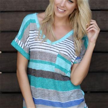 Fashion Women Summer V Neck Irregular Loose Casual Short Sleeve T Shirt Blouse Tops Plus Size S-5XL Blue M