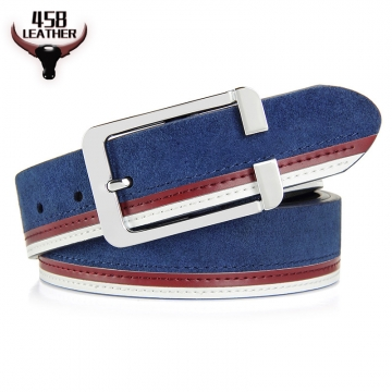 Fashion Men Belt Genuine Leather Splice High Quality Alloy Pin Buckle Jeans Waistband leather belt blue 115cm
