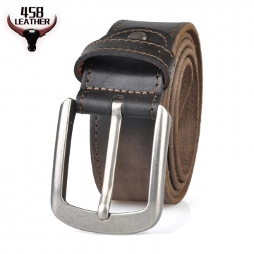 High Quality 100% Genuine Leather Belt For Men Luxury Brand Cowhide Metal Pin Buckle Waistband leather belt coffee 110cm