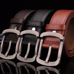 Real Hot Mens Brand Genuine Leather Belt Pin Buckle Business Waistband Fashion Strap leather belt black 110cm