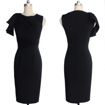 New Women's Fashion Lotus Leaf Pleated Slim Pencil Evening Tight Dress Black S