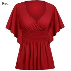 Fashion Women V-neck Sexy T-shirt Bat Short Sleeved Stitching Loose red s