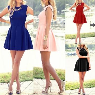 Fashion Women Sleeveless Slim Sexy Dress black s