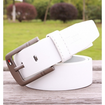 Hot Sale Men Leather For Luxury Brand Pin Buckle Strap Vintage Jeans Cowboy Waistband leather belt white 110cm