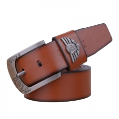 Fashion PU & Cowskinb Belts For Men Casual Metal Pin Buckle Belt brown 110cm