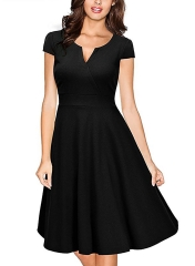 Oxiuly  Vestidos Womens Dress Formal V Neck Casual   Bodycon Knee Length A-line Dresses black s