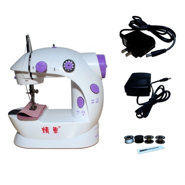 Mini 2-Speed Double Thread Double Speed Portable Sewing Machine With Light and Cutter purple