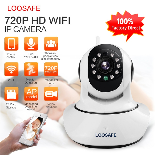 LOOSAFE HD 720P Wireless IP Camera WIFI Onvif Video Surveillance Alarm Camera Night Vision white 720P