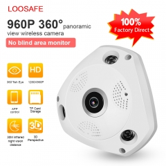 LOOSAFE 360 960P Wireless WIFI IP Camera Home Security Video Surveillance System Camera Webcam white 960P