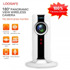 LOOSAFE 2MP IP Camera Wireless   WI-FI Home Security Surveillance Wireless Mini Camera 180 Degre white 1080p