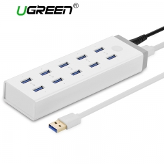 Ugreen 10 Ports USB 3.0 HUB High Speed USB Splitter with 12V 4A Power Charging Adapter for white 100CM