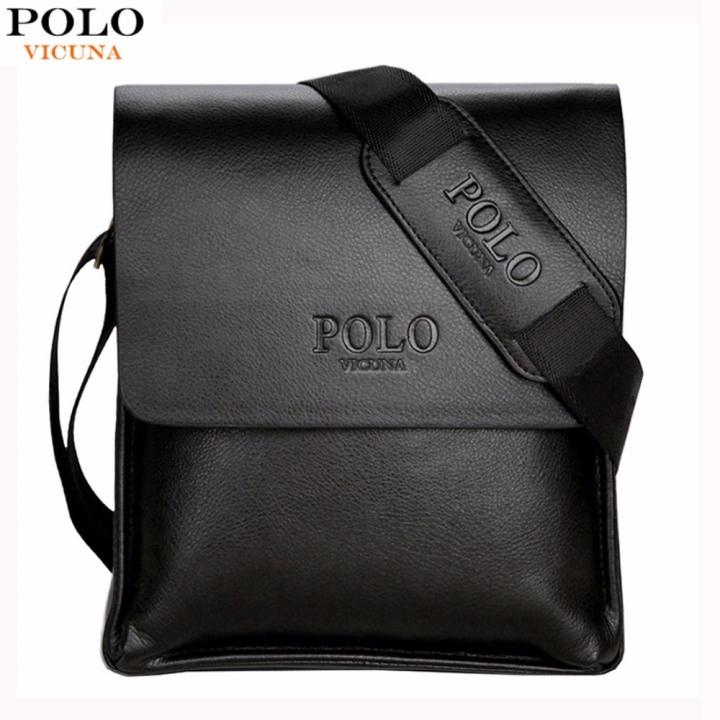 a9ba1d2eb VICUNA POLO Famous Brand Leather Men Bag Casual Business Leather Mens  Messenger Bag Vintage Men's black
