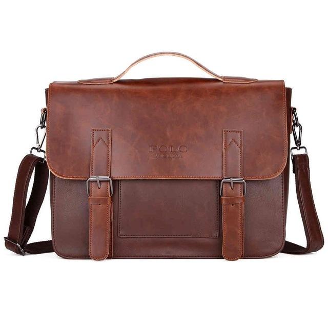 VICUNA POLO Business Men Bag Belt Decor Brand OL Leather Men Briefcase Bag  lawyer Doucument Bag 8d9d1d0cd7f5a