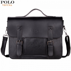 VICUNA POLO Business Men Bag  Belt Decor Brand OL Leather Men Briefcase Bag lawyer Doucument Bag black large