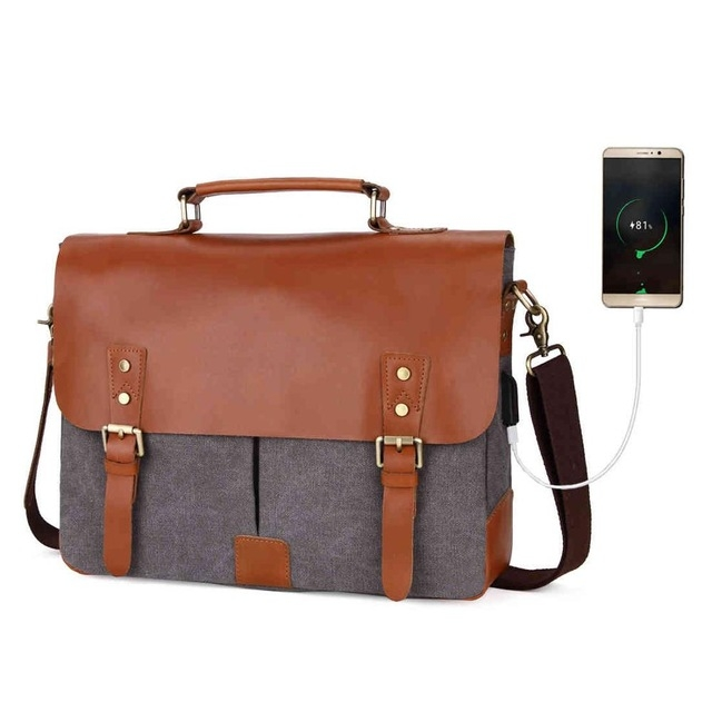 2c36043ef0 VICUNA POLO Vintage Genuine Leather Satchel Messenger Bag For Man Canvas  14   Men Laptop Bags gray large  Product No  1285918. Item specifics  Brand