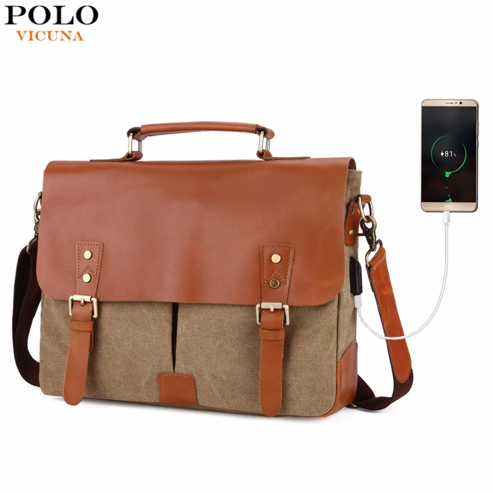 5ba3768b5 VICUNA POLO Vintage Genuine Leather Satchel Messenger Bag For Man Canvas  14'' Men Laptop Bags brown large: Product No: 1285916. Item specifics: Brand :