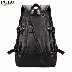 VICUNA POLO High Quality Practical PU Casual Men Laptop Backpack Black School Travel Backpack black in