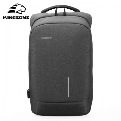 Kingsons New Arrivals 13 15.6 inches Men Laptop Backpack Large Capacity Backpack Casual Style Bag Light Grey 13 Inches