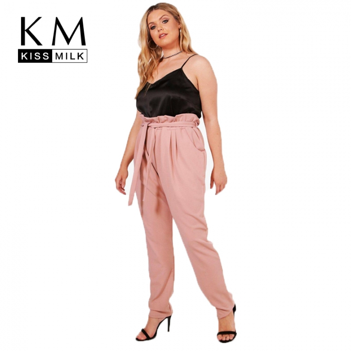 fd7eb97aa76b0 Kissmilk Women Plus Brief High-Waist Pants Pink Front Loose Pants Large  Size Casual Pants