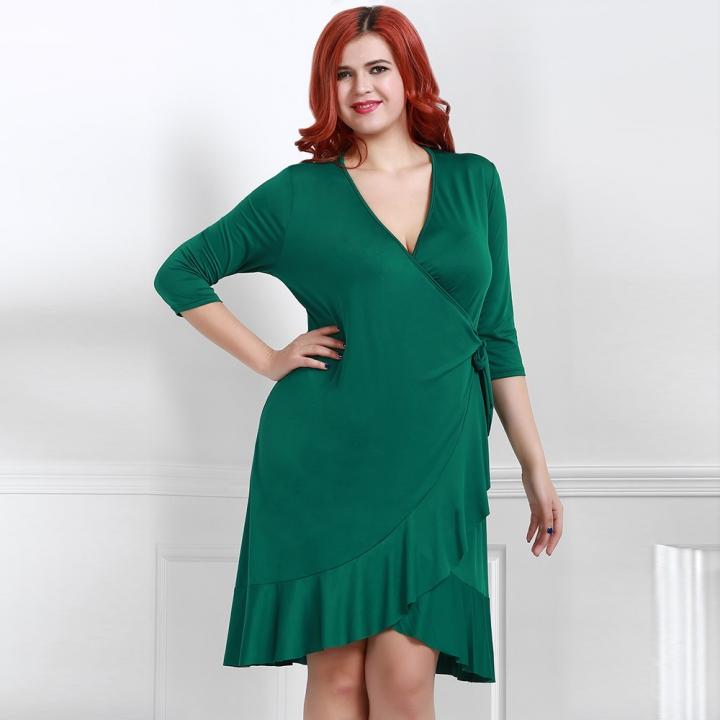 95b640970723 Kissmilk Plus Size New Fashion Women Clothing Casual Half Sleeve Wrap Fold  Dress V-Neck
