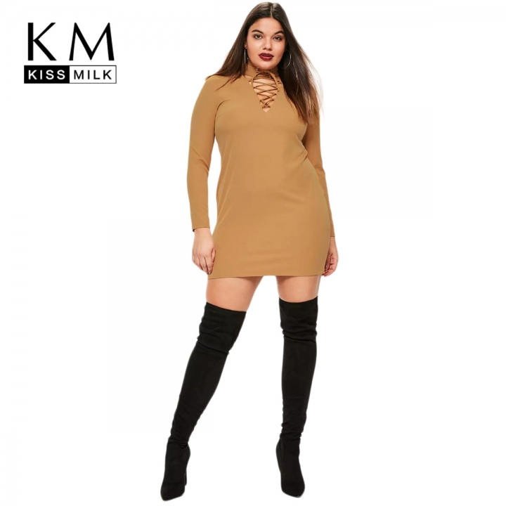 kissmilk 2017Plus Size Hollow Out Women Dress V-neck Lace Up Lady Mini Dress  brown 283fc5058e1d