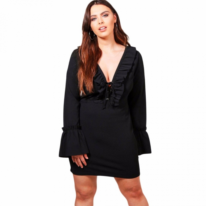 Kissmilk Plus Size Deep V Neck Ruffled Sleeve Women Mini Dress Bodycon  Solid Color Dress black 133930e4660e