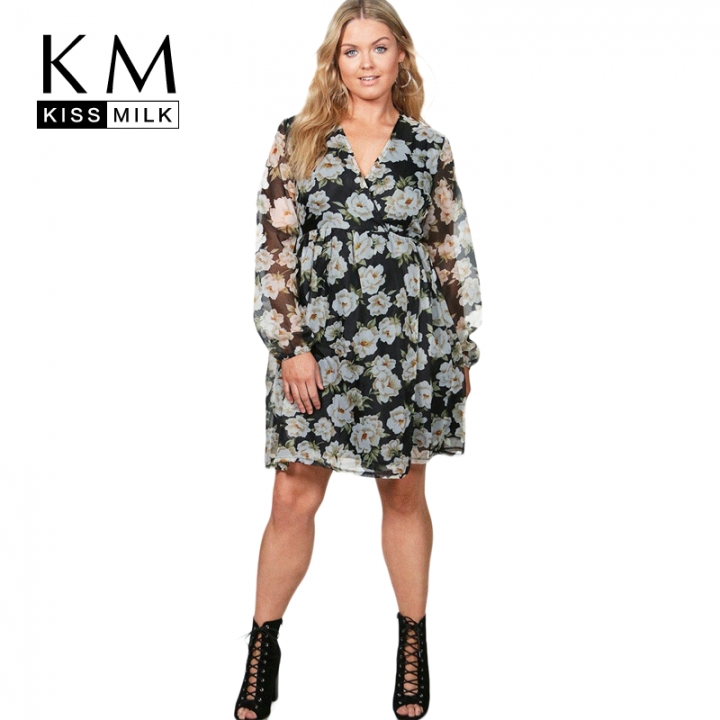 Kissmilk Plus Size Floral Print Lantern Sleeve Semi Sheer Lace Up Dress  Size Casual Dress Print 8c20de58087a