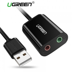 Ugreen Sound Card External 3.5mm USB Adapter USB to Microphone Speaker Audio Interface for black 3.5mm