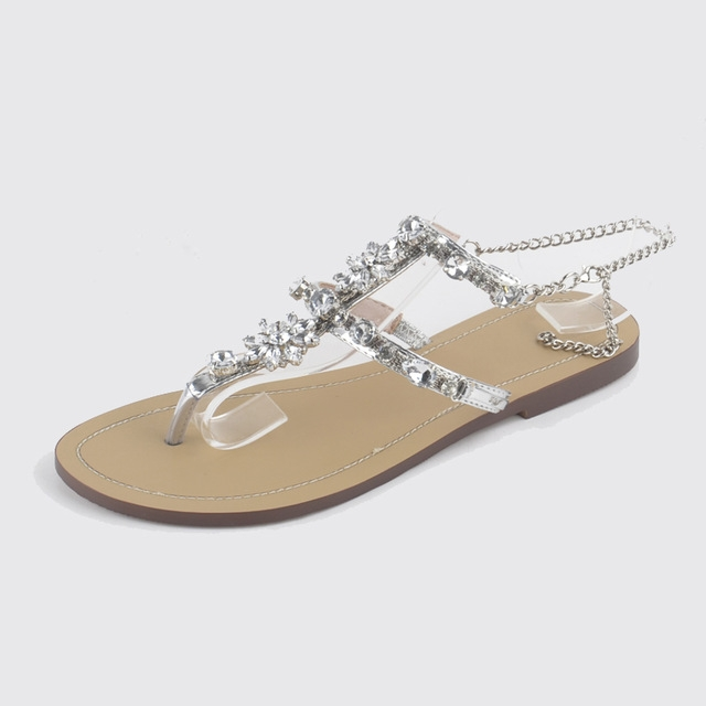 5632c21ebd9591 Woman Sandals Women Shoes Rhinestones Chains Thong Gladiator Flat Sandals  Crystal silver 13  Product No  1403262. Item specifics  Brand