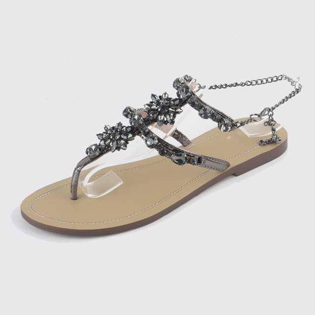 32da6640f0bebe Woman Sandals Women Shoes Rhinestones Chains Thong Gladiator Flat Sandals  Crystal black 10  Product No  1403245. Item specifics  Brand