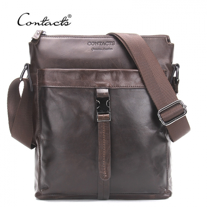 CONTACT S Genuine Leather Men Bags Hot Sale Male Messenger Bag Man Fashion  Crossbody Shoulder Bag brown 09ba770b362f2