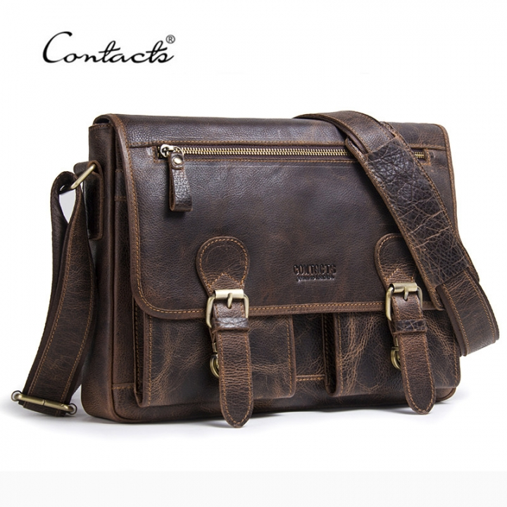 CONTACT S Genuine Crazy Horse Cowhide Leather Men Messenger Bag For Laptop  Male Vintage Tote coffee 33 1843d16141f9f