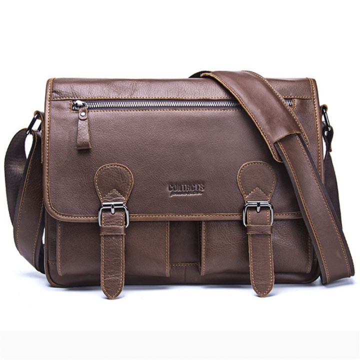 CONTACT S Genuine Crazy Horse Cowhide Leather Men Messenger Bag For Laptop  Male Vintage Tote brown 33 95e7fad9833f2