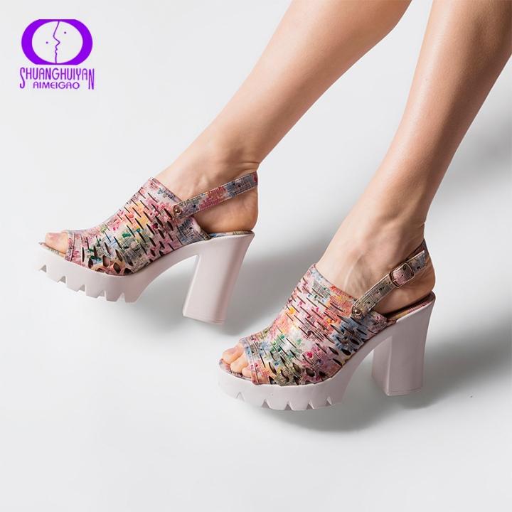 cc932b340f7 European Women Summer Platform High Heels Sandals Peep Toe Slingbacks Sandals  Thick Heels Shoes mix 5.5