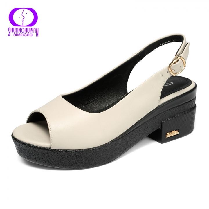 930f32d880f AIMEIGAO New Summer Buckle Sandals Platforms Heels Ladies Shoes Women Open  Toe Sandals Comfortable beige 5.5