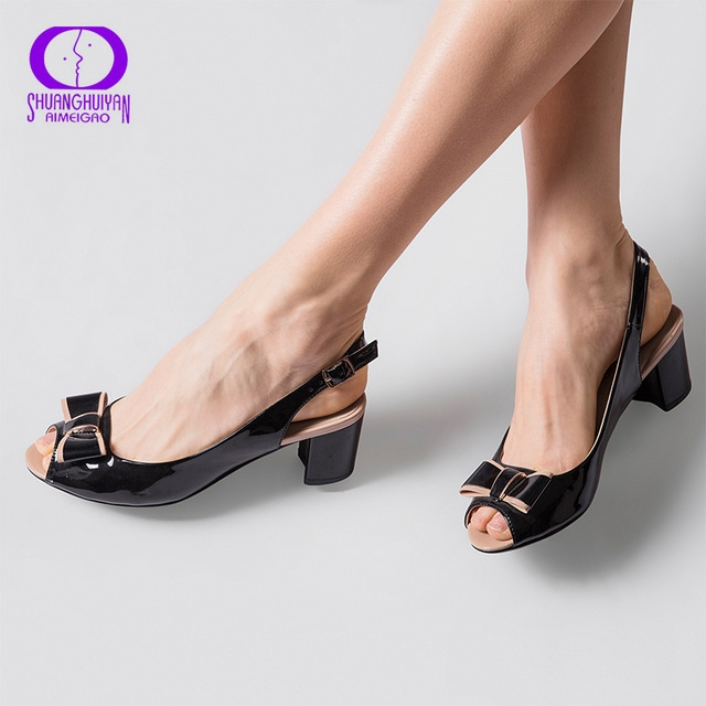 ef009b53aba Fashion High Heels Peep Toe Sandals Women Summer Open Toe Thick Heel ...