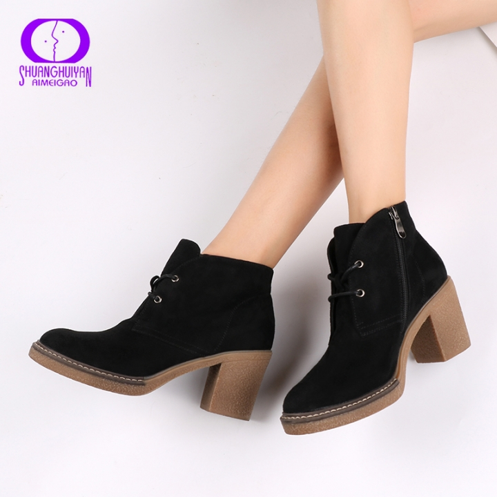 34a0b625004 AIMEIGAO Thick Heel Women Ankle Boots Suede Leather Flock Shoes Lace-Up Fur  Boots Platform