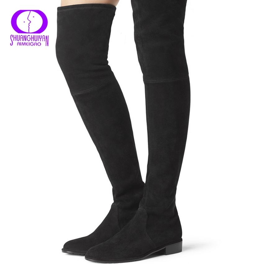 8961ebeb8 AIMEIGAO Fashion Knee High Sexy Over The Knee Boots Faux Suede Leather  Stretch Thigh High Boots For black 5.5: Product No: 2182095. Item  specifics: Brand: