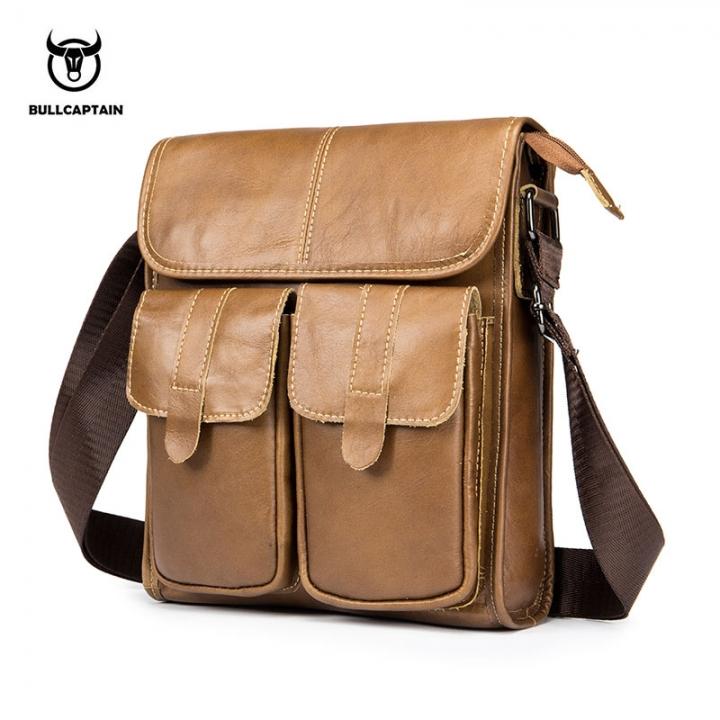 fbc306785e90 BULLCAPTAIN Genuine Leather Shoulder bag Men Crossbody Bags Small famous  Brand Designer Male brown small