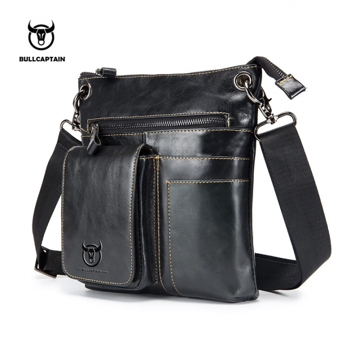 BULLCAPTAIN Men Bag Genuine Leather Man Crossbody Shoulder Bag Small  Business Male Messenger Bolsa black one 2afc467484b3e