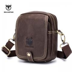BULLCAPTAIN Genuine Leather Shoulder Men bag Brand Crossbody Male Bags Male Messenger Bag Small dark brown small