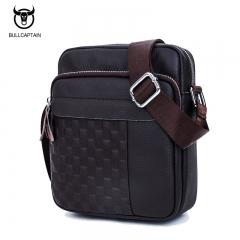 ULLCAPTAIN 2018 men vintage plaid brand shoulder bag fashion GENUINE LEATHER MEN's CROSSBODY bags dark brown small