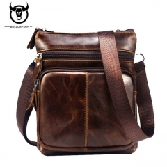 BULLCAPTAIN 2018 MEN'S FAMOUS BRAND casual CROSSBODY BAGS MALE BAG FASHION GENUINE LEATHER coffee small