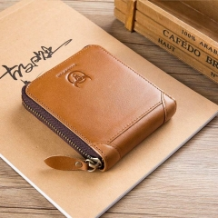 BULLCAPTAIN  New Arrival Mens Wallet Cowhide Coin Purse Designer Brand Wallet clutch leather wallet brown onesie
