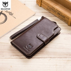 BULLCAPTAIN Men Long phone Wallet Casual Card holder Leather rfid Wallet male Purse Zipper Multi brown onesie