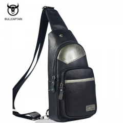 BULLCAPTAIN 2018 MEN CHEST BAGS Fashion Genuine Leather Crossbody Bags men casual messenger bag grey  and black small